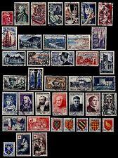 L'ANNÉE 1954 Complète, Oblitérés = Cote 260 € / Lot Timbres France n°968 à 1007