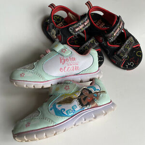 Disney Bundle: Moana Toddler Shoes Size 7.5 + Mickey Mouse Sandals Size 7/8 GUC