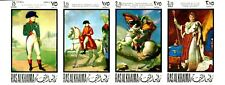 UAE Ras al Khaima 1969 Napoleon Paintings MNH Imperforated Strip Mi.322 / 25
