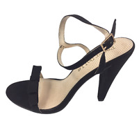 Womens Ladies Black Faux Suede High Heel Strappy Party Shoes Sandals Size 7 New