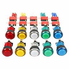 10x arcade button 12V LED light micro switch game part multiple options 5 colors