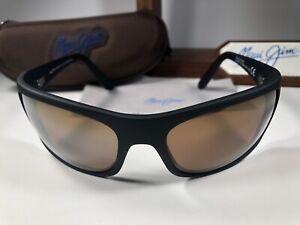 Maui Jim Peahi MJ 202-2M Matte Black Sunglasses W/Bronze HCL Polarized Lens