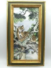 Antique Vintage Chinese Porcelain Tile Painting Picture Art Leopard Wood Frame