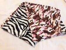 REVERSIBLE MINKY BLANKET  Pink & Black Camo & Zebra***BABY SHOWER GIFT **