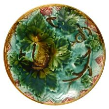 Antique French Majolica Plate, Grape Leaves