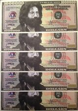 JERRY GARCIA GRATEFUL DEAD MILLION DOLLAR NOVELTY NOTES LOT of (5) GREAT GIFT !!