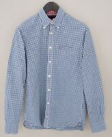 Men Tommy Hilfiger Casual Shirt Blue Check Cotton S MFA627