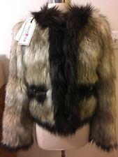 LANVIN For H&M Faux Fur Jacket Coat S size US 4 NWT NEW Women's