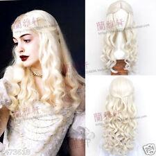 Alice in Wonderland 2 White Queen Milk White Long Curly Cosplay Wig Hair