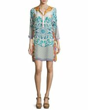 NWT Johnny Was Ellyonora Half-Placket Floral Georgette Tunic Dress L $295