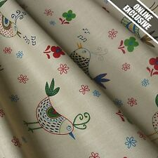 Mushroom Linen Look 100% Cotton Fabric w/ Birds - Cottage Collection (Per Metre)