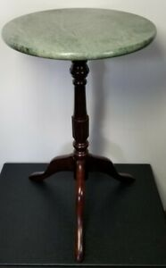 Vintage Bombay Marble Mahogany Round Pedestal Plant Stand Excellent Condition