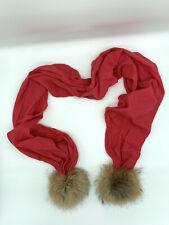 VISHANA Real Rabbit Fur Pink 100% Cashmere Scarf.
