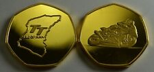 ISLE OF MAN TT RACING Collectors Token/Medal 24ct Gold. Superbikes, Motorsport