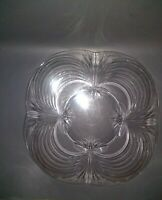 """Vintage Etched Glass Serving Dish Tray Platter Rounded Square 11"""""""