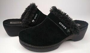 Crocs Suede Leather Slip On Mule Clog Shoes Women Size 9 US Faux Fur Lined Black