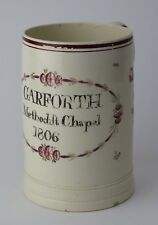 Leeds creamware documentary tankard mug. Garforth Methodist Chapel 1806.