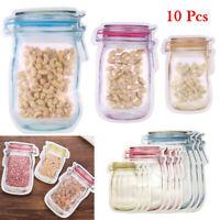 10P Mason Jar Bottle Bags Zipper Snacks Fresh Food Storage Reusable sealed Bag