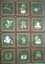 "Merry Christmas ""SANTA IS COMING""  Snowman Train Wreath Dove Cotton Patch Panel"