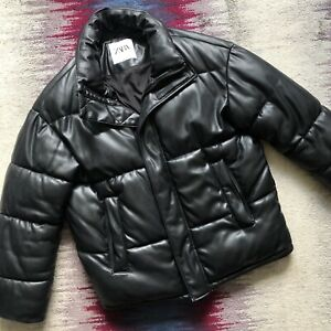 Zara Mens Black Faux Leather Puffer Jacket Size Uk S Oversized With Some Defects