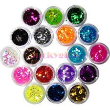 18 Colors 2mm Hexagon Glitter Sequins Nail Art Acrylic 3D Tip Decoration Powder
