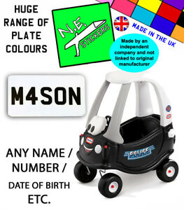 PERSONALISED Number Plate stickers TO FIT Little Tikes POLICE Cozy Coupe toy car
