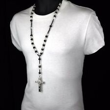 Hip Hop BLACK/CLEAR Bead Silver Cz Rosary Jesus Cross Religious Necklace Chain