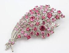 Lavish Bridal Wedding Brooch Pin Pink Elegant Austrian Rhinestone Crystal