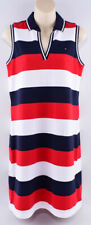TOMMY HILFIGER Polo Style Sleeveless Dress, White/Red/Navy Striped, size M