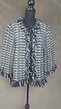 JONES NEWYORK wome's zip cardigan sweater with knit ruffles  black white sz xl