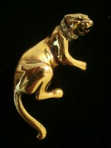 Beautiful,Vintage,Finely Crafted 18CT Gold Gilded Sterling Silver Leopard Brooch