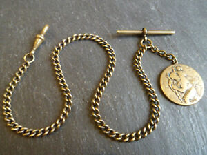 Antique Gold Tone Albert Pocket Watch Chain + Saint Christopher Fob Medal