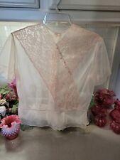 New listing Lovely Sheer 1940s Vintage Pink Nylon Blouse S-M