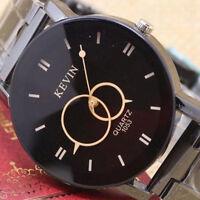 Luxury Men Watch Design Black Stainless Steel Band Dial Quartz Wrist Watch Gift
