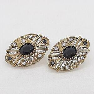 Deco 3.00ctw Spinel & Diamond Cut White Sapphire 14K Yellow Gold 925 Earrings