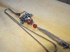 Long flapper style necklace with amber  tones, Lucite and agate bead