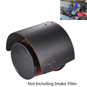 "Carbon Fiber Style Heat Shield 2.5 ''-5 ""Cone Filter Cold Air Intake For Racing"