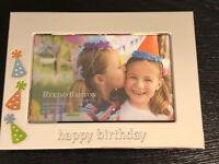 "Reed & Barton Lenox LET'S CELEBRATE Happy Birthday 4x6"" Silverplate Photo Frame"