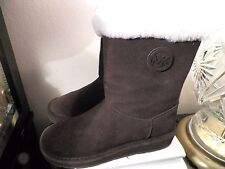 MICHAEL KORS WOMEN'S CALF PULL UP BOOTS SIZE-5 M BROWN GENUINE SUEDE SHEEP FUR