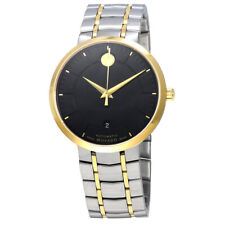 Movado 1881 Automatic Mens Black Leather Strap Swiss Watch 0606875