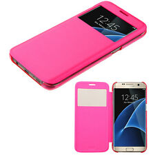 For Samsung Galaxy S7 Protective Window View Leather Flip Wallet Case Cover Pink