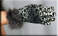 New Silver Leopard Print Gloves Fox Fur Trim - Touch Tech - One Size Fits All