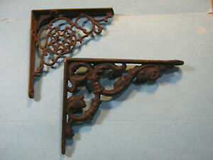 Lot of 2 old Iron Bracket Ornamental Fancy antique vtg Shelf Hardware decorative