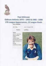 Paul aktkinson Oldham Athletic Club oficial 1979-1988 Original Firmado Foto