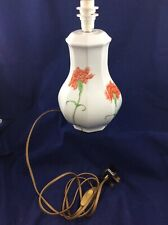 Limoges Porcelain Table Lamp Hand Painted Flowers on White Glaze