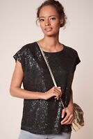 SALE*BNWT £22 NEXT BLACK STRETCH SEQUIN SPARKLY EVENING PARTY TOP SIZE 14-16-18