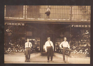 REAL PHOTO EAST LIVERPOOL OHIO FISHERS BODY SHOP ADVERTISING POSTCARD COPY