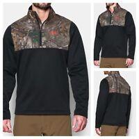 NWT $70 UNDER ARMOUR Storm Caliber 1/4 Zip Men Sweatshirt Black Realtree Camo S