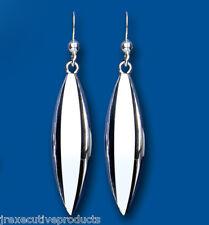Sterling Silver Plain Bullet Drop Earrings 43 x 9mm Hallmarked
