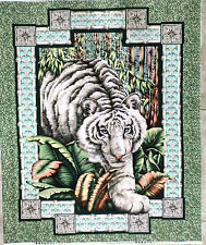 WHITE TIGER FABRIC PANEL QUILT TOP awesome WALL PANEL ALABASTER tiger fabic NEW